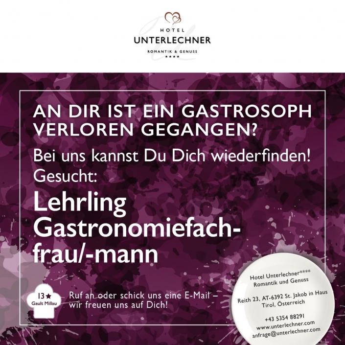 Unterlechner Stellenanzeige Lehrling Gastronomiefachfrau/-mann
