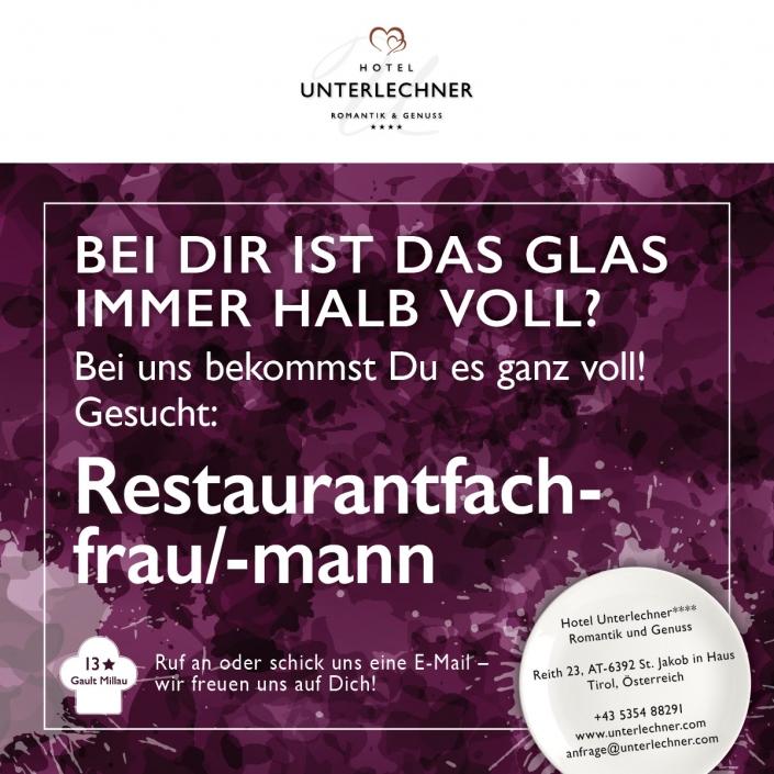 Unterlechner Stellenanzeige Restaurantfachfrau/-mann